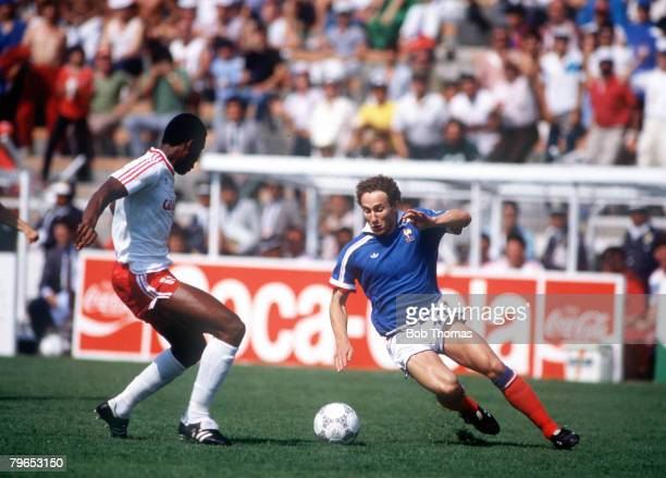 World Cup Finals Leon Mexico 1st June France 1 v Canada 0 France's JeanPierre Papin takes on Canada's Randy Samuel