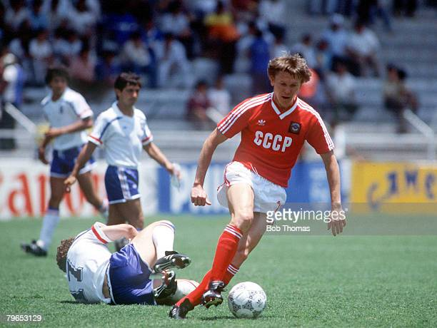 World Cup Finals Leon Mexico 5th June France 1 v USSR 1France's Jean Pierre Papin lies on the ground as he is beaten by USSR's Oleg Blokhin