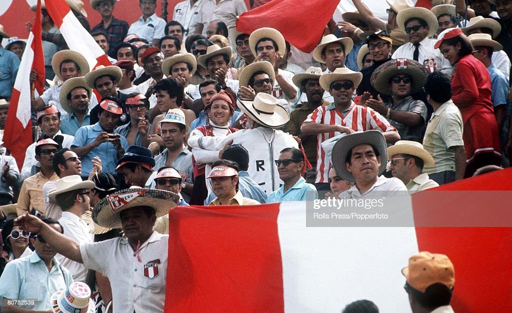1970 World Cup Finals Leon, Mexico. 6th June, 1970. Peru 3 v Morocco 0. Peruvian fans watch thier teams during their Group Four match. : News Photo