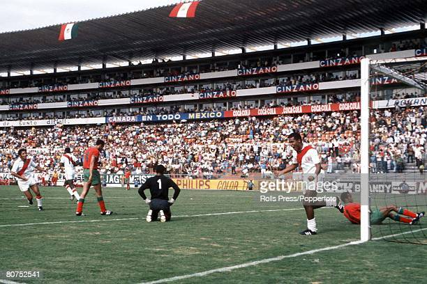 World Cup Finals Leon Mexico 6th June Peru 3 v Morocco 0 Peruvian striker Teofilo Cubillas turns away to celebrate after scoring one of his two goals...