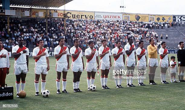 World Cup Finals Leon Mexico 6th June Peru 3 v Morocco 0 The Peruvian team listen to the national anthem as they line up before their Group Four...