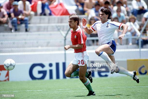 World Cup Finals Leon Mexico 9th June France 3 v Hungary 0 France's Manuel Amoros chases Hunagry's Katman Kovacs for the ball