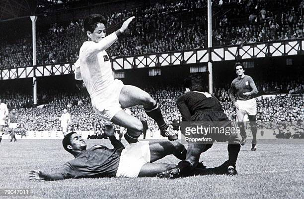 World Cup Finals Liverpool England 23rd July Portugal 5 v North Korea 3 Portugal's Eusebio is stopped by North Korean goalkeeper Lee ChangMyung and...