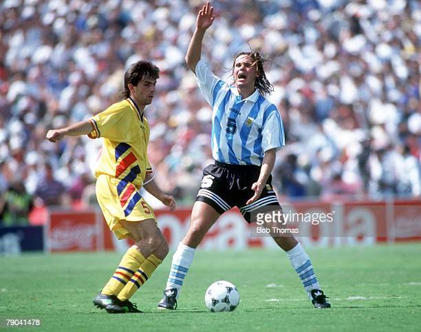 World Cup Finals Los Angeles USA 3rd July Romania 3 v Argentina 2 Romania's I Lupescu battles for the ball with Argentina's Fernando Redondo
