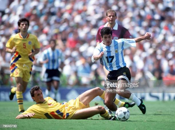 World Cup Finals Los Angeles USA 3rd July Romania 3 v Argentina 2 Romania's Gheorghe Popescu is beaten by Argentina's Ariel Ortega