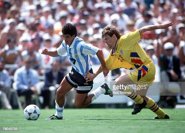 World Cup Finals Los Angeles USA 3rd July Romania 3 v Argentina 2 Romania's Selymes challenges Argentina's Ariel Ortega