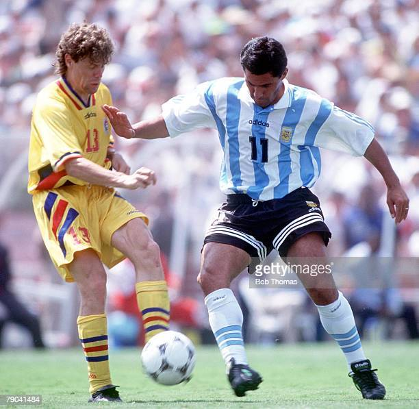 World Cup Finals Los Angeles USA 3rd July Romania 3 v Argentina 2 Romania's Selymes challenges Argentina's Medina Bello