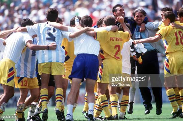 World Cup Finals Los Angeles USA 3rd July Romania 3 v Argentina 2 Romanian players celebrate victory after the match