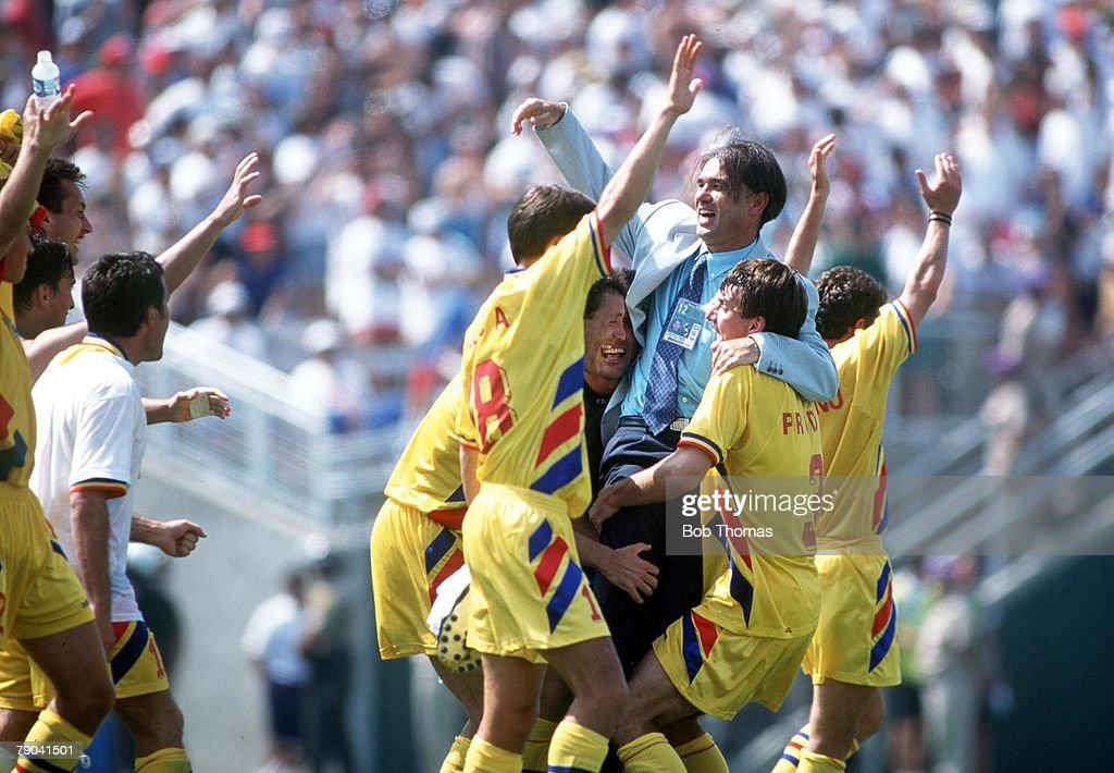 1994 World Cup Finals, Los Angeles, USA. 3rd July, 1994. Romania 3 v Argentina 2. Romanian coach Iordanescu celebrates with his team after eliminating Argentina : News Photo