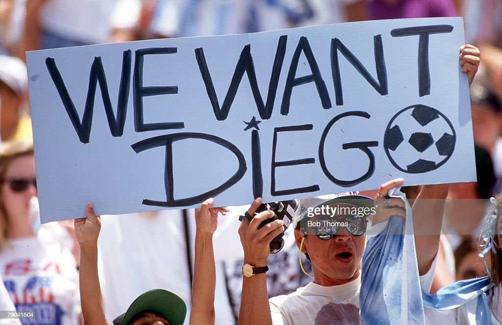 World Cup Finals, Los Angeles, USA, 3rd July, 1994, Romania 3 v Argentina 2, Argentine fans hold up a placard calling for the return of shamed star Diego Maradona after he was banned for failing a drugs test