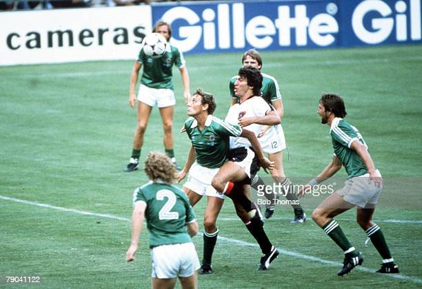 World Cup Finals Madrid Spain 1st July Austria 2 v Northern Ireland 2 Northern Ireland's Sammy Nelson is challenged for the ball by Austria's...