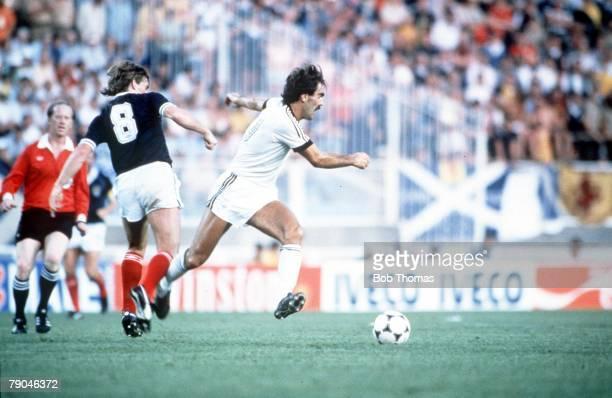 World Cup Finals Malaga Spain 15th June Scotland 5 v New Zealand 2 Scotland's Kenny Dalglish tackles New Zealand's Steve Sumner