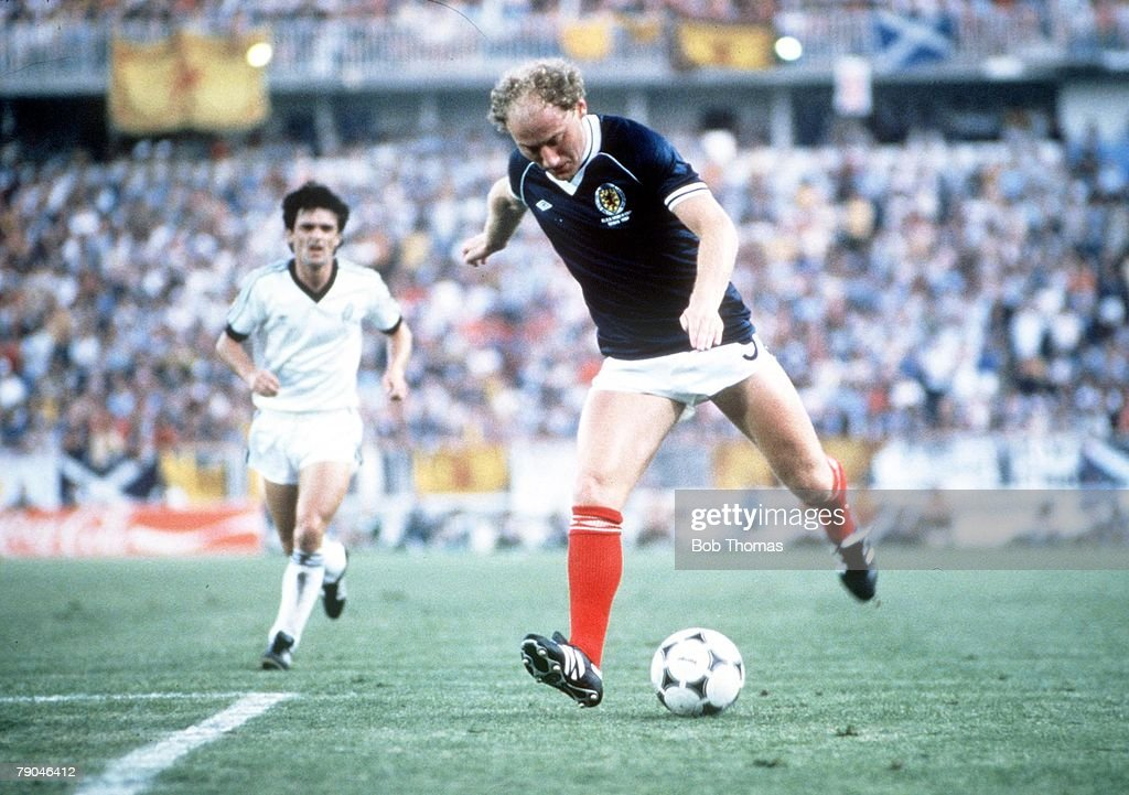 1982 World Cup Finals. Malaga, Spain. 15th June, 1982. Scotland 5 v New Zealand 2. Scotland's Alan Brazil. : News Photo