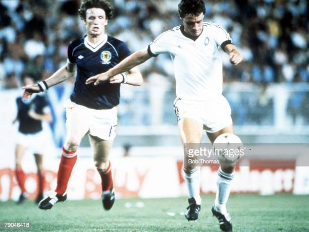 World Cup Finals Malaga Spain 15th June Scotland 5 v New Zealand 2 New Zealand's Stephen Wooddin races past Scotland's Allan Evans to score the...