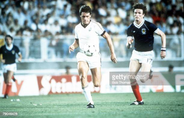 World Cup Finals Malaga Spain 15th June Scotland 5 v New Zealand 2 New Zealand's Stephen Wooddin is chased by Scotland's Allan Evans