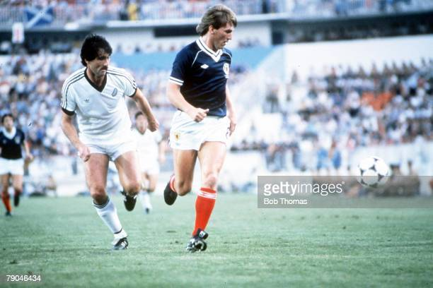 World Cup Finals Malaga Spain 15th June Scotland 5 v New Zealand 2 Scotland's Kenny Dalglish is watched closely by New Zealand's Sam Malcolmson