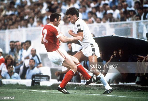World Cup Finals Malaga Spain 19th June USSR 3 v New Zealand 0 New Zealand's Stephen Wooddin is faced by USSR's Tengiz Sulakvelidze