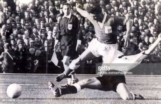 World Cup Finals Malmo Sweden 15th June West Germany 2 v Northern Ireland 2 West Germany's Erhard tries to get the ball from Northern Ireland's...