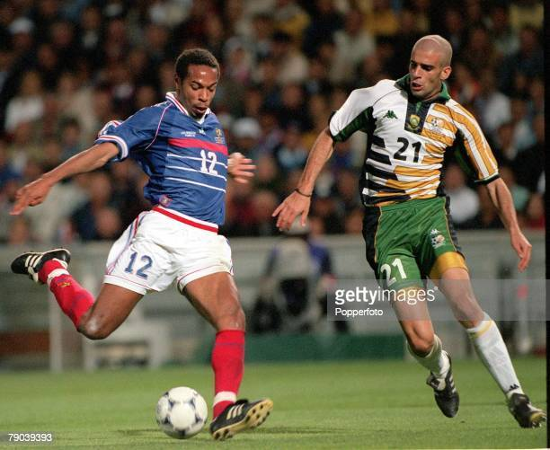 World Cup Finals, Marseille, France, 12th JUNE 1998, France 3 v South Africa 0, France's Thierry Henry with South Africa's Pierre Issa