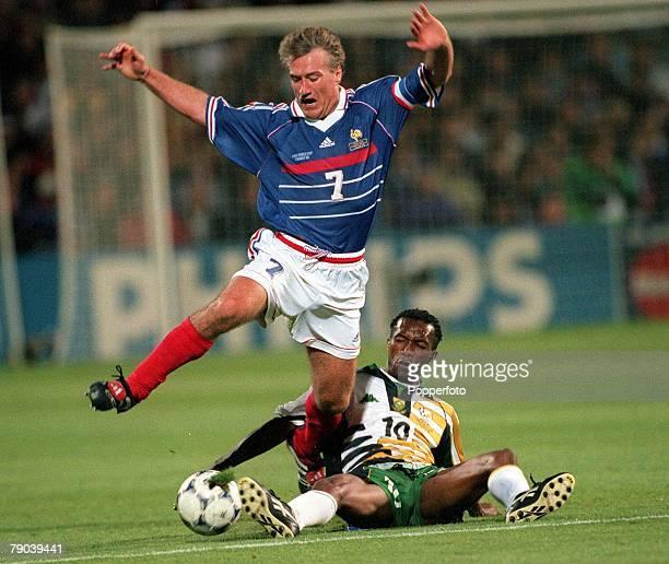 World Cup Finals Marseille France 12th JUNE 1998 France 3 v South Africa 0 Didier Deschamps of France jumps over South Africa's John Moshoeu