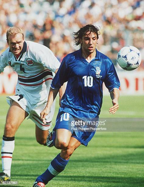 World Cup Finals Marseille France 2nd Round 27th JUNE 1998 Italy 1 v Norway 0 Alessandro Del Piero of Italy beats Norway's Dan Eggan