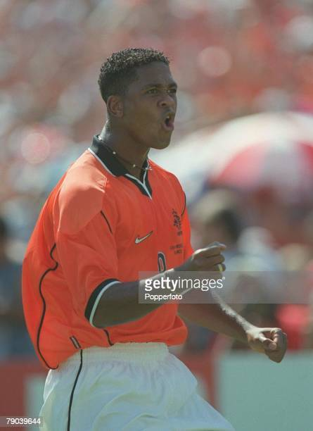 World Cup Finals Marseille France QuarterFinal 4th JULY 1998 Holland 2 v Argentina 1Holland's Patrick Kluivert celebrates after scoring the first goal