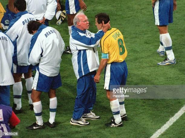 World Cup Finals, Marseille, France, Semi-Final, 7th July Brazil 1 v Holland 1, , Brazil's coach Mario Zagallo encourages captain Dunga in the break...