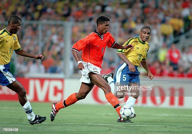 World Cup Finals Marseille France SemiFinal 7th July Brazil 1 v Holland 1 Holland's Patrick Kluivert on the attack