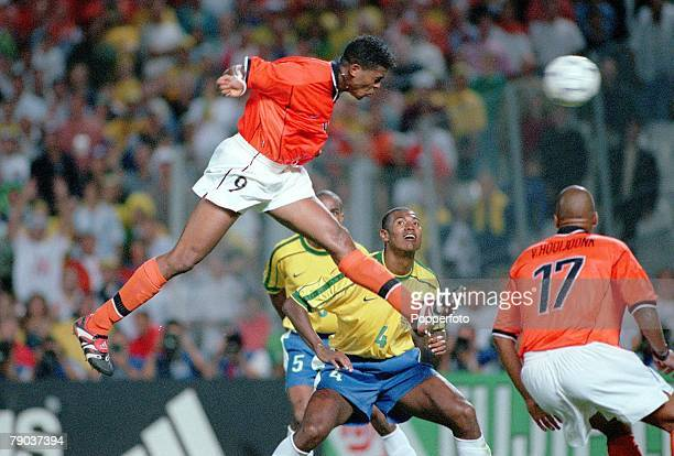 World Cup Finals Marseille France SemiFinal 7th July Brazil 1 v Holland 1 Holland's Patrick Kluivert heads in his side's late equaliser to force the...