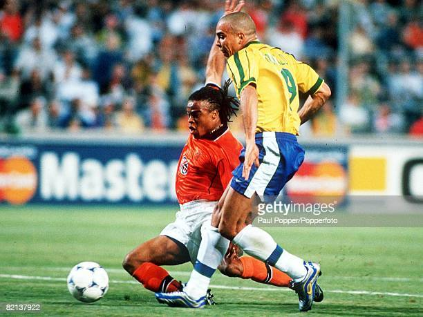 World Cup Finals Marseille France SemiFinal 7th July Brazil 1 v Holland 1 Brazil's Ronaldo is tackled by Holland's Edgar Davids
