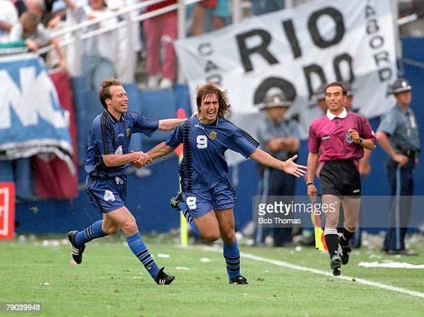 World Cup Finals Massachusetts USA 21st June Argentina 4 v Greece 0 Argentina's Gabriel Batistuta celebrates his goal with Sensini