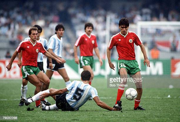 World Cup Finals Mexico City Mexico 10th June Argentina 2 v Bulgaria 0 Argentina's Jose Luis Brown on the ground in a battle for the ball with...