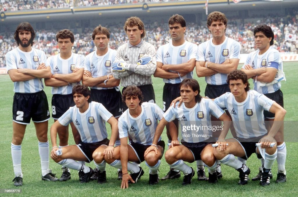 1986 World Cup Finals, Mexico City, Mexico, 2nd June 1986, Argentina 3 v South Korea 1, The Argentine team line up before the match : News Photo