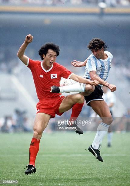World Cup Finals Mexico City Mexico 2nd June Argentina 3 v South Korea 1 Argentina's Ricardo Giusti battles for the ball with South Korea's Yong Se...