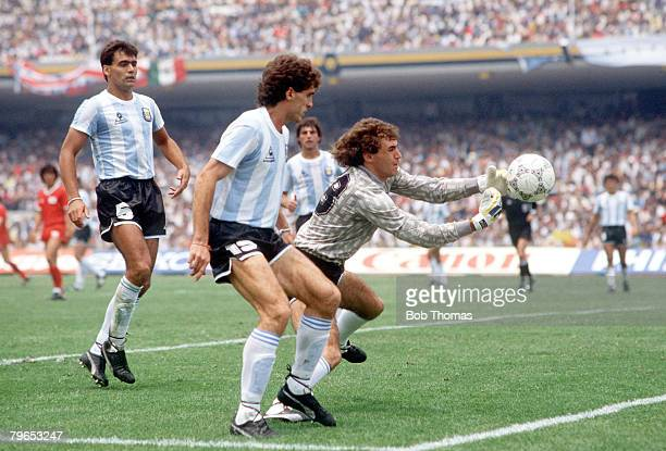 World Cup Finals Mexico City Mexico 2nd June Argentina 3 v South Korea 1 Argentina's goalkeeper Nery Pumpido saves as defender Oscar Ruggeri watches