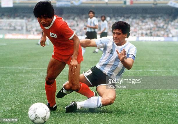 World Cup Finals Mexico City Mexico 2nd June Argentina 3 v South Korea 1 Argentina's Diego Maradona battles for the ball with South Korea's Hyung...