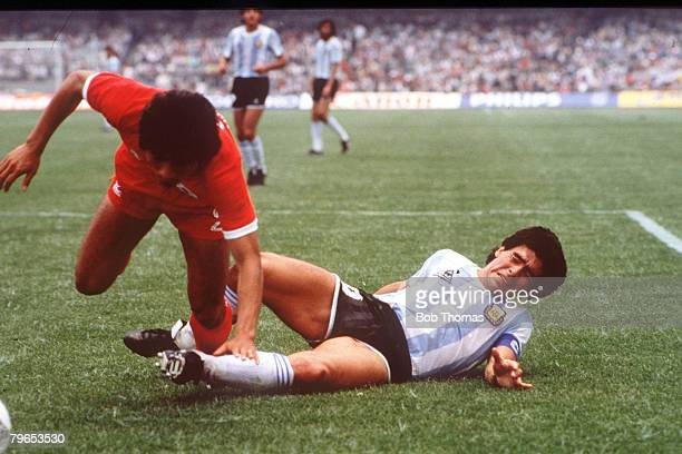 World Cup Finals Mexico City Mexico 2nd June Argentina 3 v South Korea 1 Argentina's Diego Maradona falls after a challenge with South Korea's Hyung...