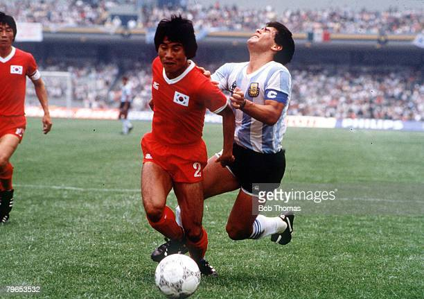 World Cup Finals Mexico City Mexico 2nd June Argentina 3 v South Korea 1 Argentina's Diego Maradona falls after a challenge for the ball with South...