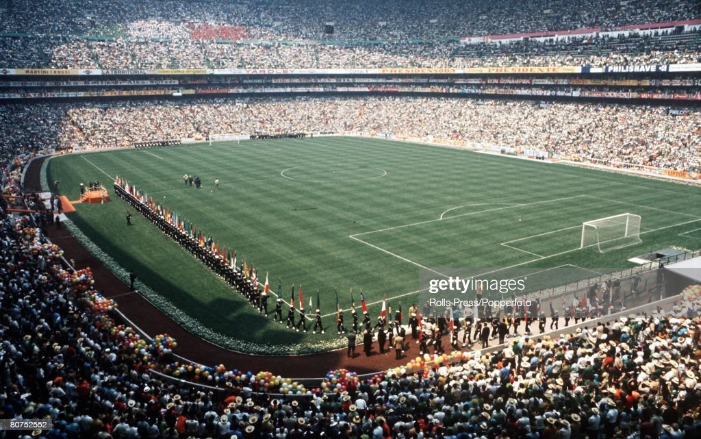 1970 World Cup Finals, Mexico City, Mexico 31st May, 1970. Opening Ceremony. A general view of the Azteca Stadium during opening ceremonies. The opening game between Mexico and Soviet Union ended in a goalless draw. : News Photo