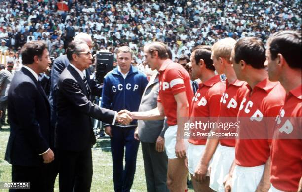 World Cup Finals Mexico City Mexico 31st May Opening Ceremony Mexican President Gustavo Diaz Ordaz shakes hands with Soviet captain Albert Shesternev...