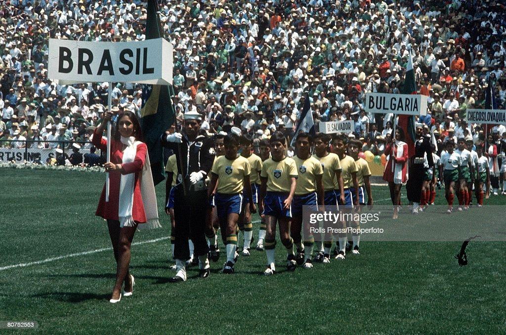 1970 World Cup Finals, Mexico City, Mexico 31st May, 1970. Opening Ceremony. Young Brazilian children parade their country's names in the Azteca Stdium during opening ceremonies for the 1970 tournament. The opening game between Mexico and Soviet Union en : News Photo