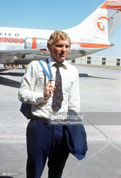 World Cup finals Mexico England captain Bobby Moore pictured as he arrives at Mexico airport following his release from police custody in Bogota...