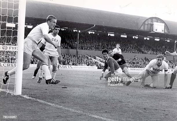 World Cup Finals Middlesborough England 12th July Soviet Union 3 v North Korea 0 Soviet Union's Vasiliy Danilov clears the ball off the line during a...