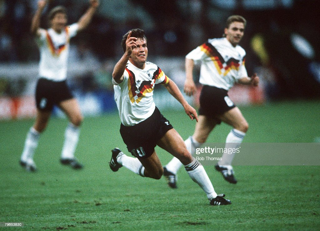 1990 World Cup Finals, Milan, Italy, 10th June, 1990, West Germany 4 v Yugoslavia 1, West Germany's Lothar Matthaeus celebrates after scoring the first goal : News Photo