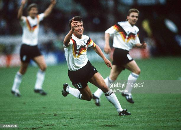 World Cup Finals Milan Italy 10th June West Germany 4 v Yugoslavia 1 West Germany's Lothar Matthaeus celebrates after scoring the first goal