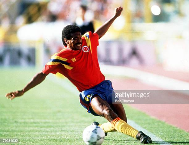World Cup Finals Milan Italy 19th June West Germany 1 v Colombia 1 Colombia's Arnoldo Iguaran on the ball