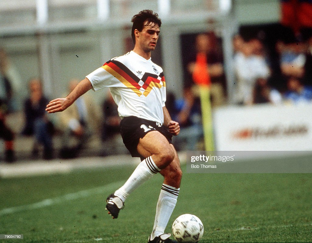 1990 World Cup Finals. Milan, Italy. 19th June, 1990. West Germany 1 v Colombia 1. West Germany's Thomas Berthold on the ball. : News Photo