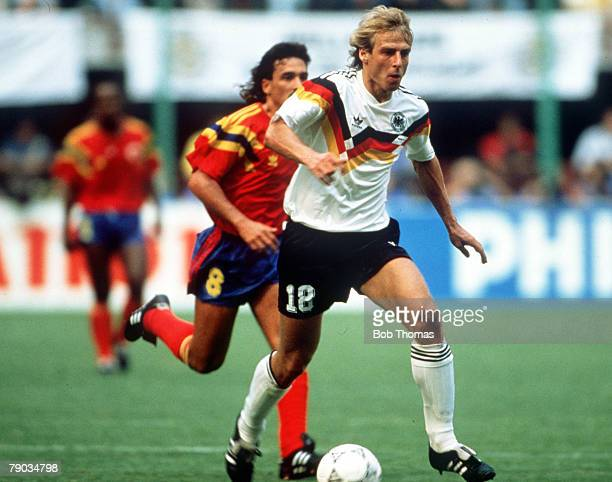 World Cup Finals, Milan, Italy, 19th June West Germany 1 v Colombia 1, West Germany's Jurgen Klinsmann on the ball