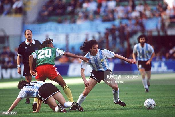 World Cup Finals Milan Italy 8th June Argentina 0 v Cameroon 1 Argentina's Abel Balbo moves away from Cameroon's Cyrille Makanaky