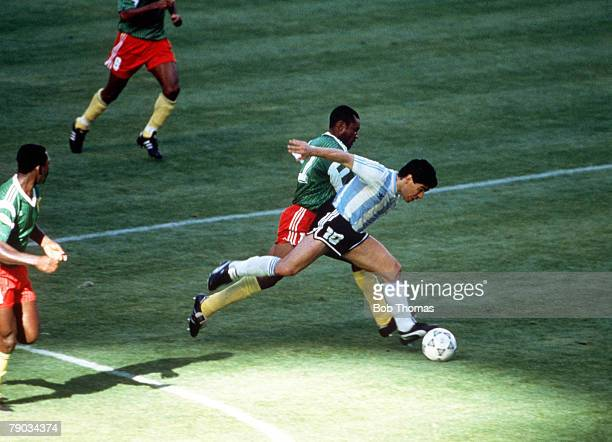World Cup Finals Milan Italy 8th June Argentina 0 v Cameroon 1 Argentina's Diego Maradona moves forward with the ball